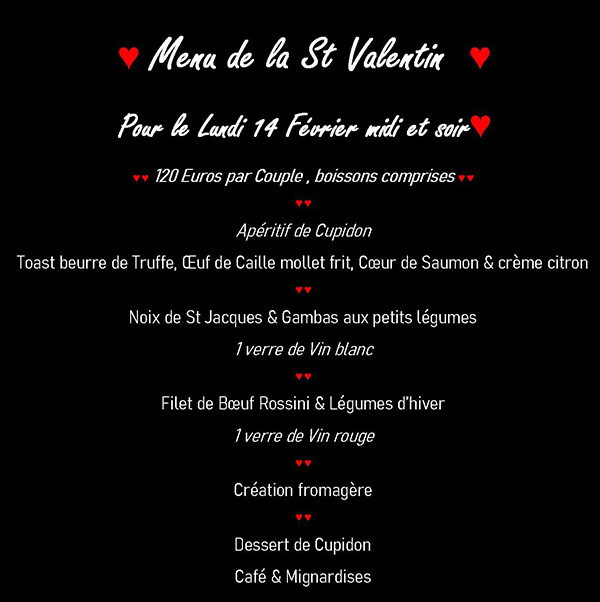 Menu de la Saint Valentin 2019 - 105 € par couple, boissons comprises